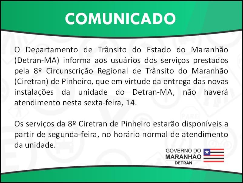 Ciretran de Pinheiro não terá expediente nesta sexta-feira