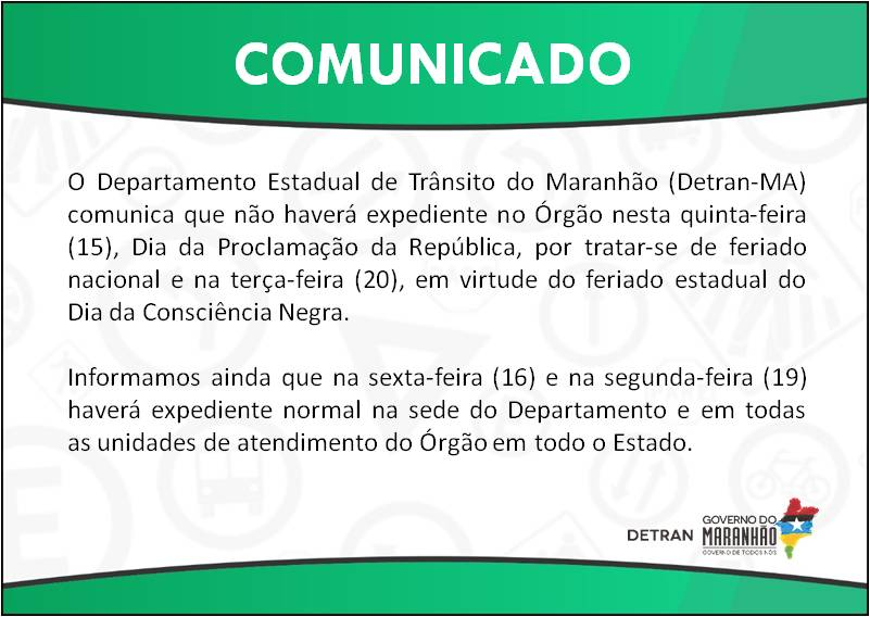COMUNICADO: FERIADOS 15 E 20 DE NOVEMBRO