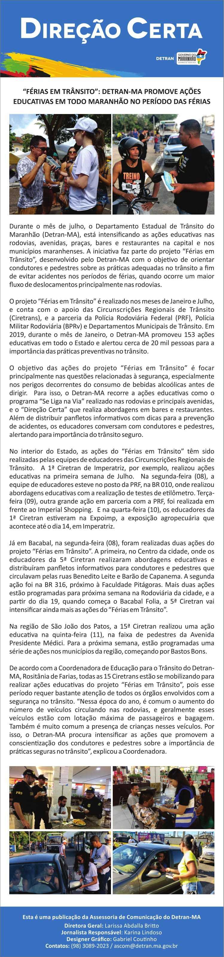 """""""Férias em Trânsito"""": Detran-MA promove ações educativas em todo Maranhão no período das férias"""