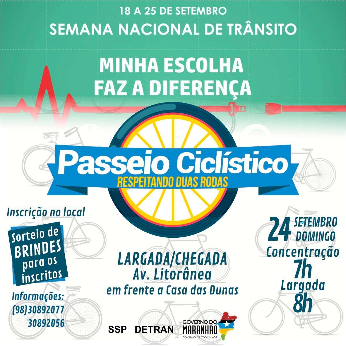 Detran-MA Promove passeio ciclístico na Litorânea
