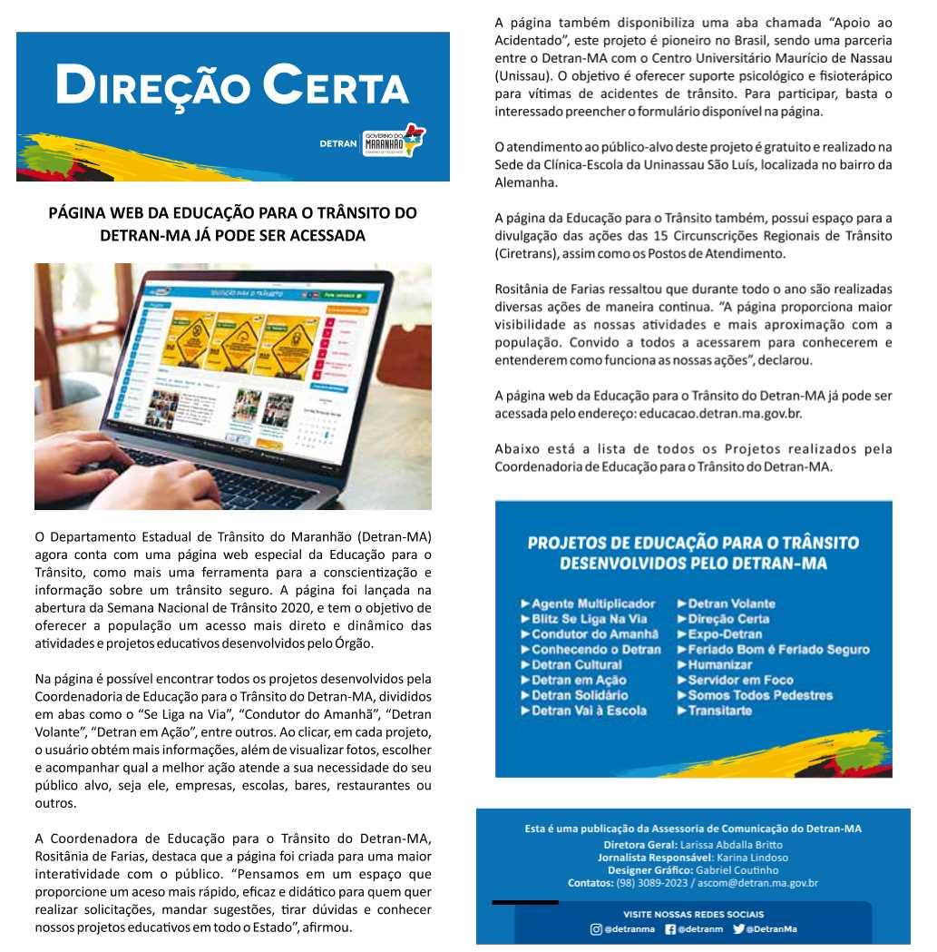Página Web da Educação para o Trânsito do Detran-MA já pode ser acessada
